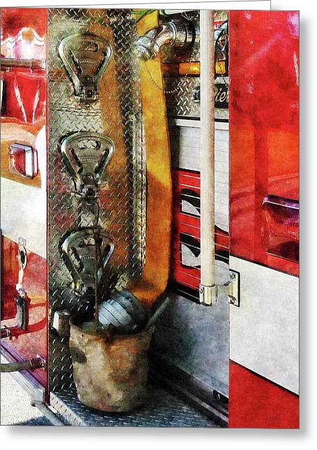 Fire Engine Greeting Cards - Fireman - Fire Hose Bucket and Nozzle Greeting Card by Susan Savad