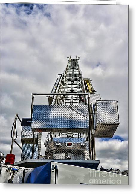 Rotate Greeting Cards - Fireman - Fire Ladder Greeting Card by Paul Ward