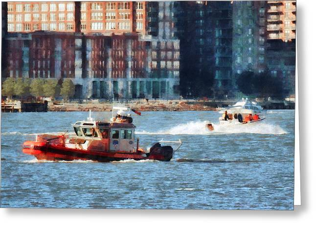 Boats Greeting Cards - Fireman - Fire Rescue Boat Hudson River Greeting Card by Susan Savad