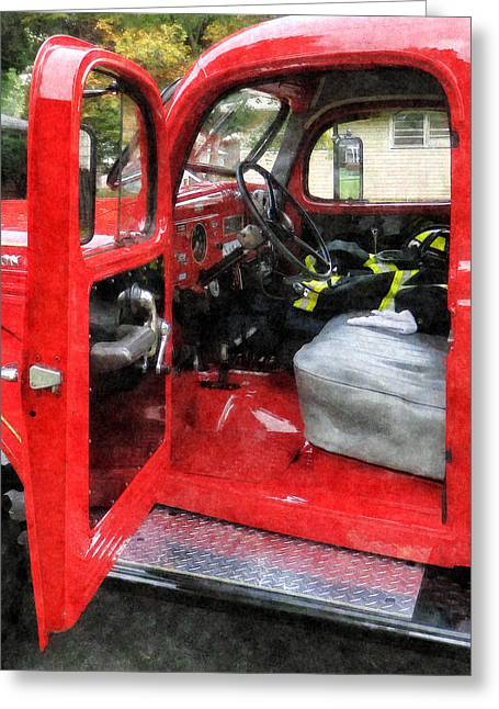 Fire Fighter Greeting Cards - Fireman - Fire Truck With Firemans Uniform Greeting Card by Susan Savad
