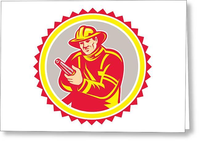 Rosette Greeting Cards - Fireman Firefighter Aiming Fire Hose Rosette Greeting Card by Aloysius Patrimonio