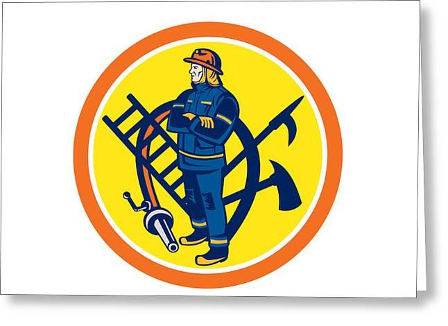 Folding Ladder Greeting Cards - Fireman Firefighter Fire Hose Ladder Circle Greeting Card by Aloysius Patrimonio