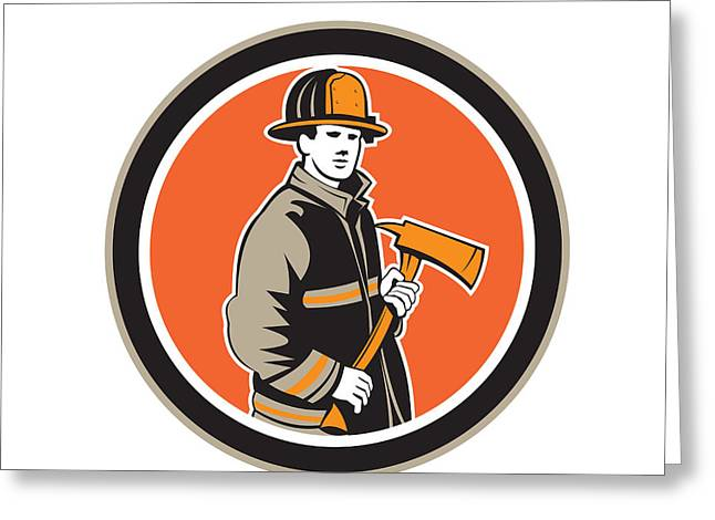 Circle Hook Greeting Cards - Fireman Firefighter Holding Fire Axe Circle Greeting Card by Aloysius Patrimonio