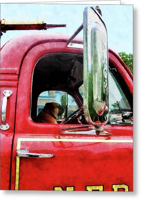 Fire Engines Greeting Cards - Fireman - Firemans Best Friend Greeting Card by Susan Savad
