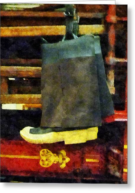 Firefighters Greeting Cards - Fireman - Firemans Boots Greeting Card by Susan Savad