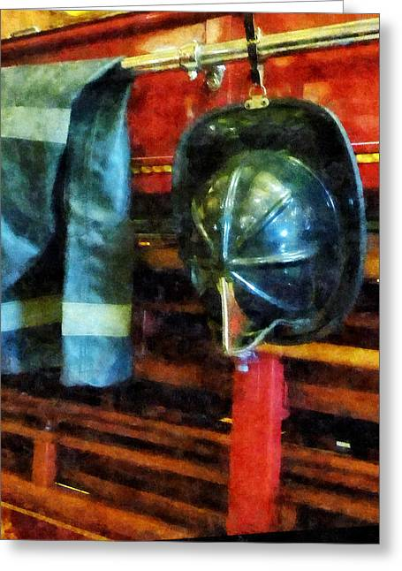 Truck Greeting Cards - Fireman - Firemans Helmet and Jacket Greeting Card by Susan Savad
