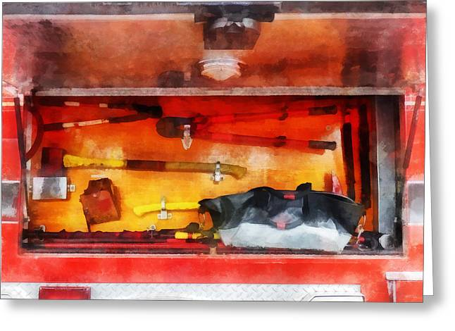 Fire Fighters Greeting Cards - Fireman - Firemens Tools of the Trade Greeting Card by Susan Savad