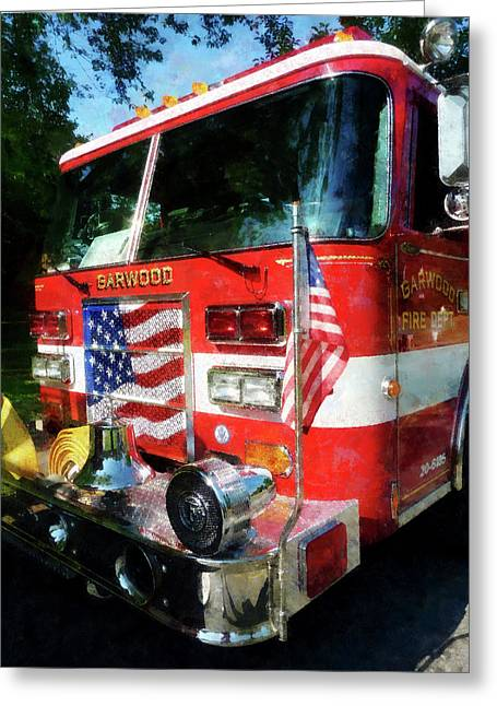 Fire Department Greeting Cards - Fireman - Front of Fire Engine Greeting Card by Susan Savad