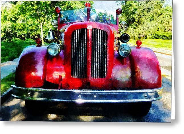 Fire Trucks Greeting Cards - Fireman - Front of Old Fire Engine Greeting Card by Susan Savad