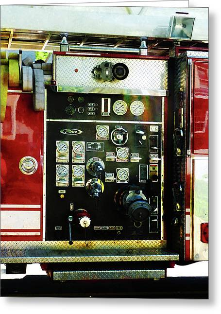 Gauge Greeting Cards - Fireman - Gauges on Fire Truck Greeting Card by Susan Savad