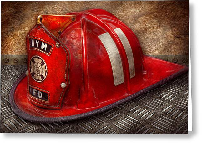 Diamond Plate Greeting Cards - Fireman - Hat - A childhood dream Greeting Card by Mike Savad