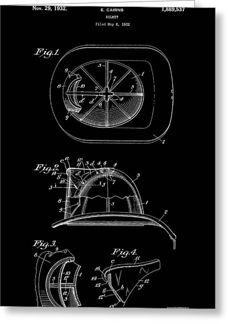 Safety Gear Greeting Cards - Fireman Helmet 2 Patent Art  1932 Greeting Card by Daniel Hagerman