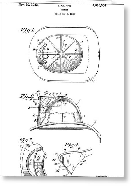 Safety Gear Greeting Cards - Fireman Helmet 3 Patent Art  1932 Greeting Card by Daniel Hagerman