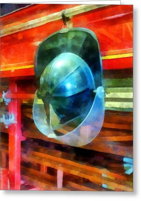 Helmets Greeting Cards - Fireman - Helmet Hanging on Fire Truck Greeting Card by Susan Savad
