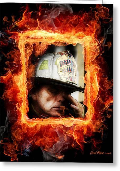 Wtc 11 Greeting Cards - Fireman Hero Greeting Card by EricaMaxine  Price