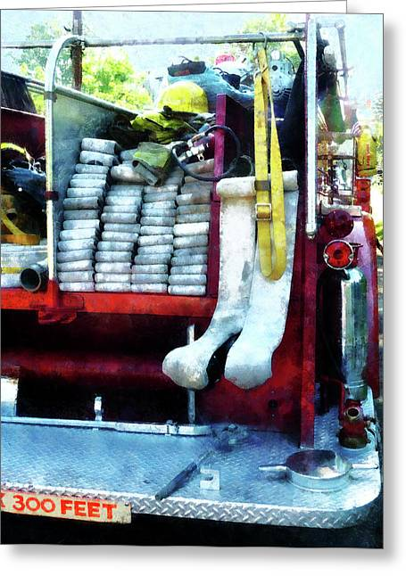 Fire Hose Greeting Cards - Fireman - Hoses on Fire Truck Greeting Card by Susan Savad