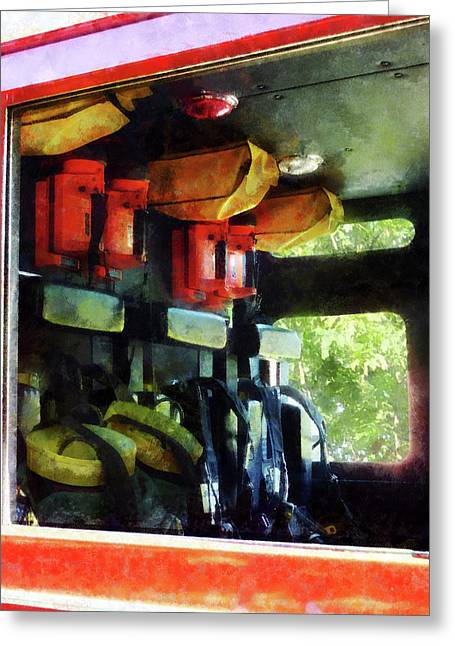 Truck Greeting Cards - Fireman - Inside the Fire Truck Greeting Card by Susan Savad