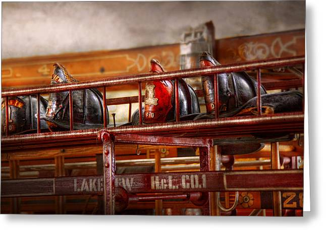 Firewomen Greeting Cards - Fireman - Ladder Company 1 Greeting Card by Mike Savad