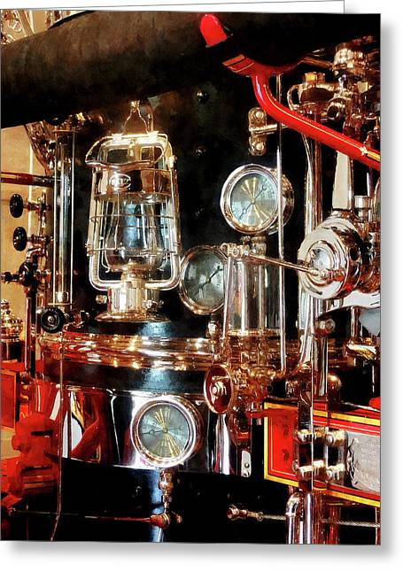 Fire Department Greeting Cards - Fireman - Lantern and Gauges on Fire Truck Greeting Card by Susan Savad