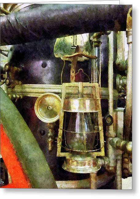 Steam Punk Greeting Cards - Fireman - Lantern on Fire Truck Greeting Card by Susan Savad