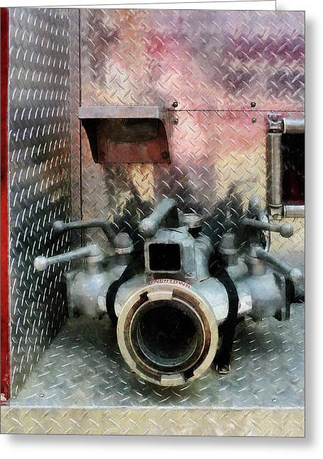Hose Greeting Cards - Fireman - Large Fire Hose Nozzle Greeting Card by Susan Savad