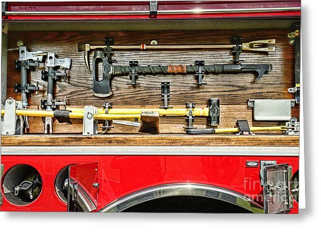 Fireman - Life Saving Tools Greeting Card by Paul Ward