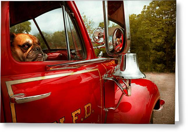 Custom Mirror Greeting Cards - Fireman - Mack  Greeting Card by Mike Savad