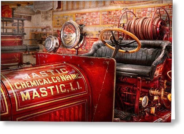 Firewomen Greeting Cards - Fireman - Mastic chemical co Greeting Card by Mike Savad