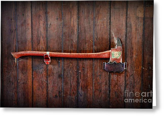 Emergency Vehicle Greeting Cards - Fireman - My Trusty Axe Greeting Card by Paul Ward
