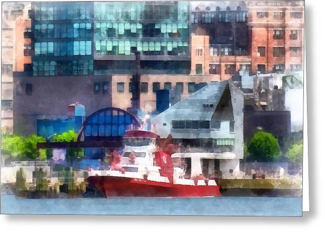 Skyline Greeting Cards - Fireman - New York Fire Boat Greeting Card by Susan Savad