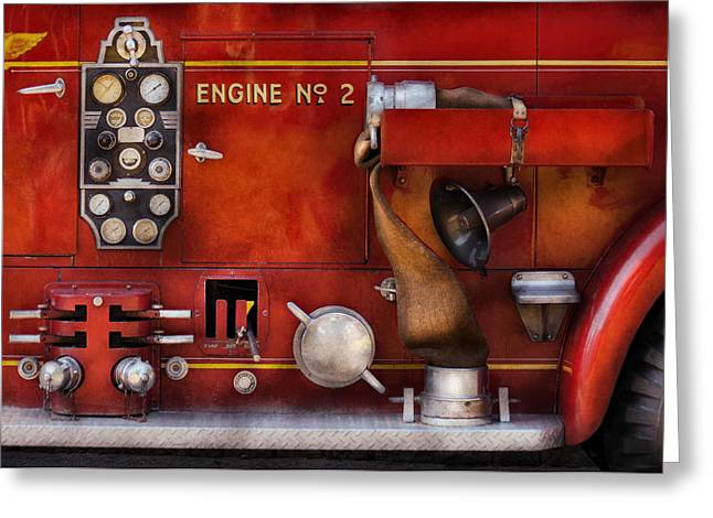 Customizable Greeting Cards - Fireman - Old Fashioned Controls Greeting Card by Mike Savad