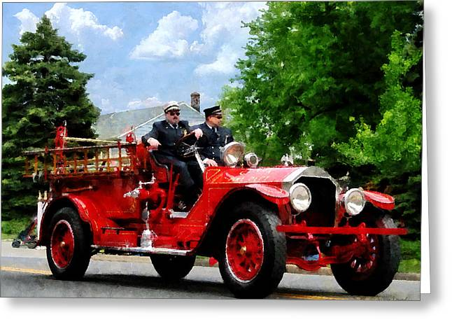 Hose Greeting Cards - Fireman - Old Fashioned Fire Engine Greeting Card by Susan Savad