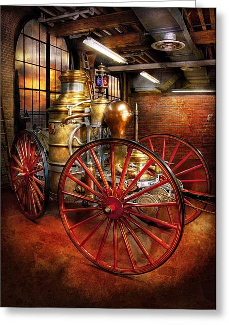 Suburbanscenes Greeting Cards - Fireman - One day a long time ago  Greeting Card by Mike Savad
