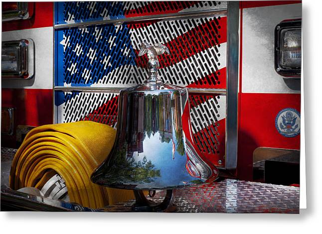 Suburbanscenes Greeting Cards - Fireman - Red Hot  Greeting Card by Mike Savad