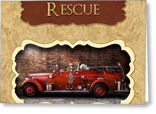 Brigade Greeting Cards - Fireman - Rescue - Police Greeting Card by Mike Savad