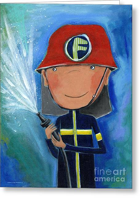 Crafts For Kids Greeting Cards - Fireman Greeting Card by Sonja Mengkowski
