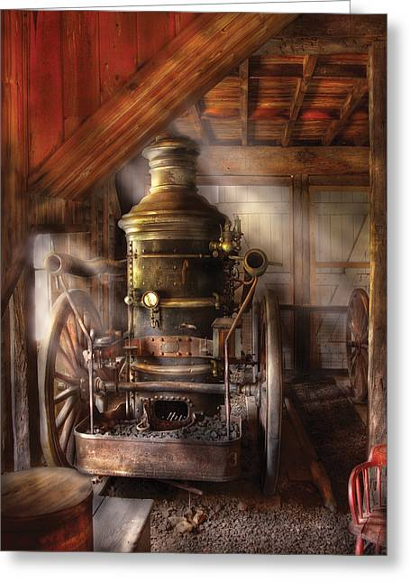 Firewomen Greeting Cards - Fireman - Steam Powered Water Pump Greeting Card by Mike Savad