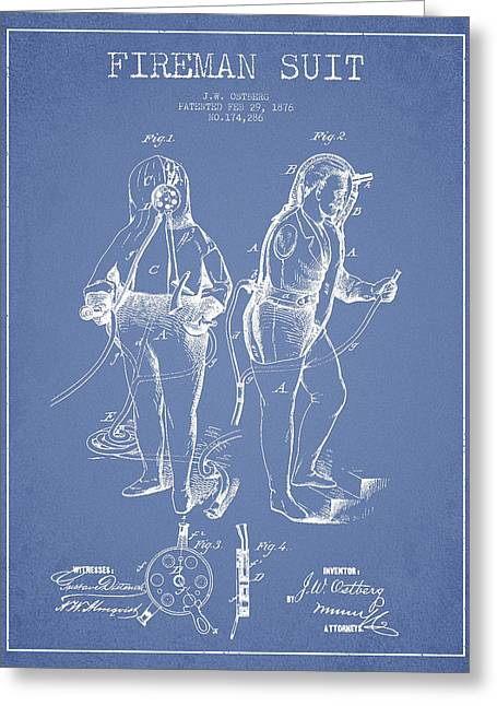 Rescue Greeting Cards - Fireman Suit Patent drawing from 1826 Greeting Card by Aged Pixel