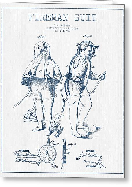 Firemen Art Greeting Cards - Fireman Suit Patent drawing from 1826- Blue Ink Greeting Card by Aged Pixel
