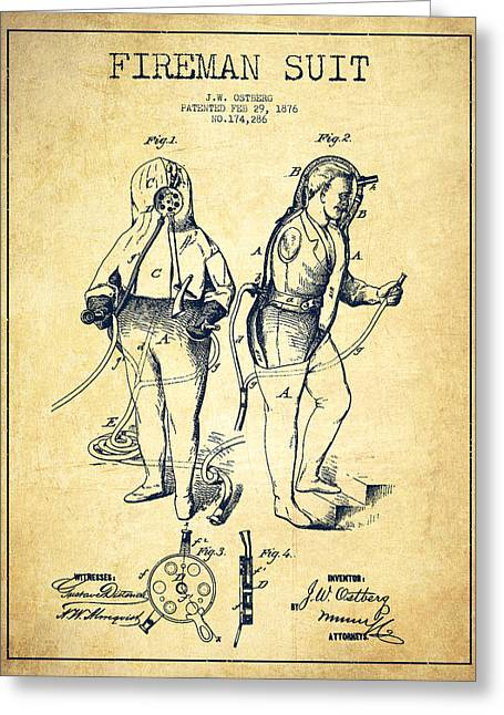 Firemen Art Greeting Cards - Fireman Suit Patent drawing from 1826 - Vintage Greeting Card by Aged Pixel