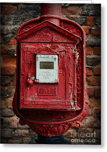 Iron Greeting Cards - Fireman - The Fire Alarm Box Greeting Card by Paul Ward