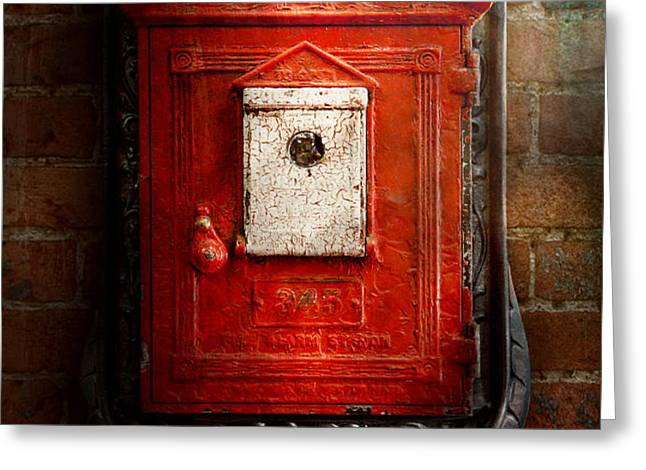 Fireman - The fire box Greeting Card by Mike Savad