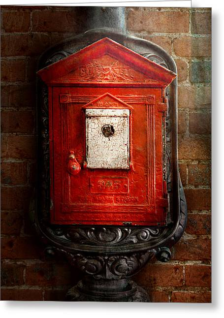 Firewomen Greeting Cards - Fireman - The fire box Greeting Card by Mike Savad