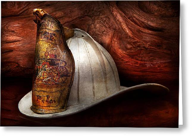 Fireman - The fire chief Greeting Card by Mike Savad
