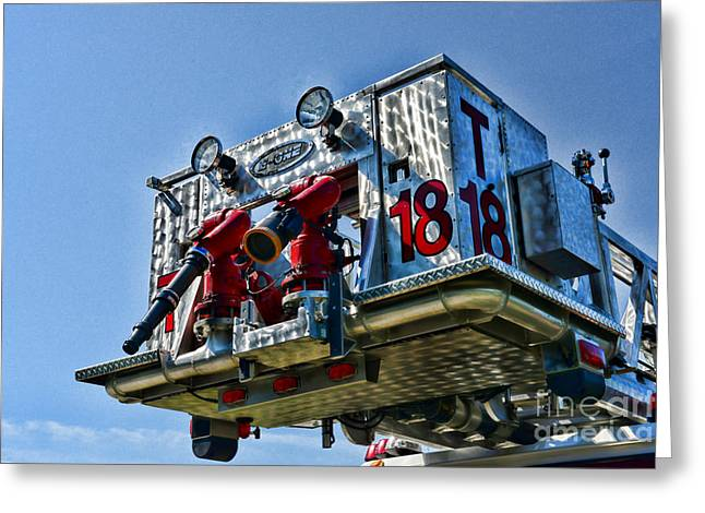 Rotate Greeting Cards - Fireman - The Firemans Ladder Greeting Card by Paul Ward