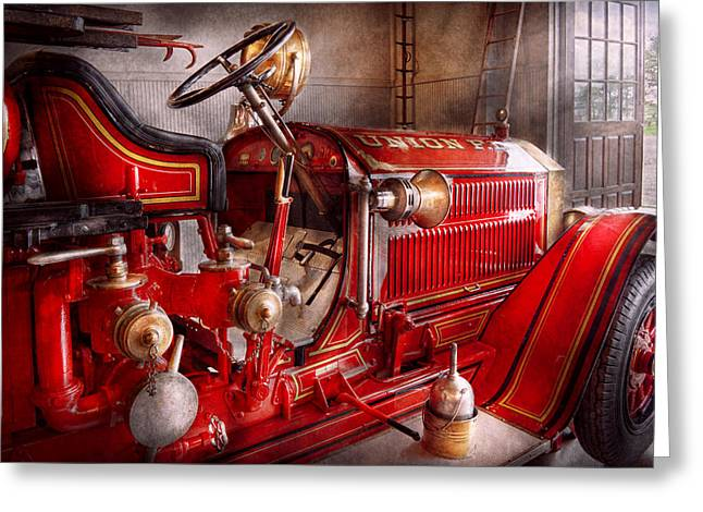 Suburbanscenes Greeting Cards - Fireman - Truck - Waiting for a call Greeting Card by Mike Savad