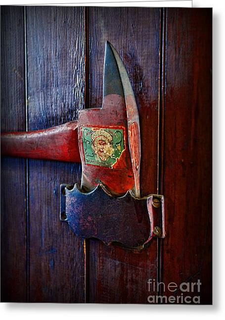 Emergency Vehicle Greeting Cards - Fireman - Vintage Fire Axe Greeting Card by Paul Ward