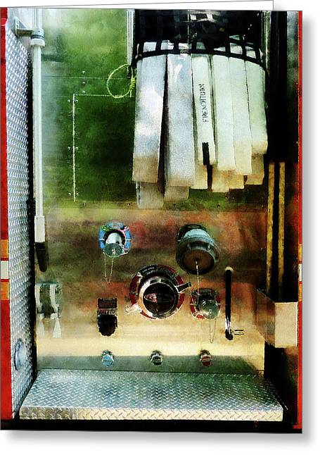 Fire Hose Greeting Cards - Fireman - White Hose and Nozzles Greeting Card by Susan Savad