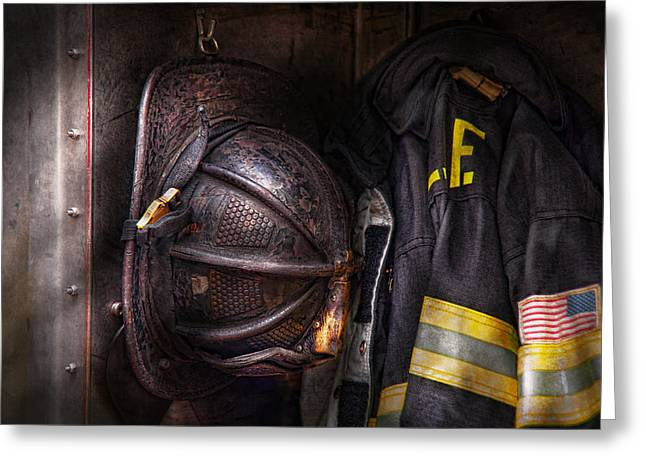 Patriotic Scenes Greeting Cards - Fireman - Worn and used Greeting Card by Mike Savad