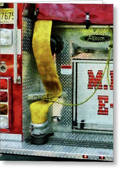 Fire Trucks Greeting Cards - Fireman - Yellow Fire Hose Greeting Card by Susan Savad
